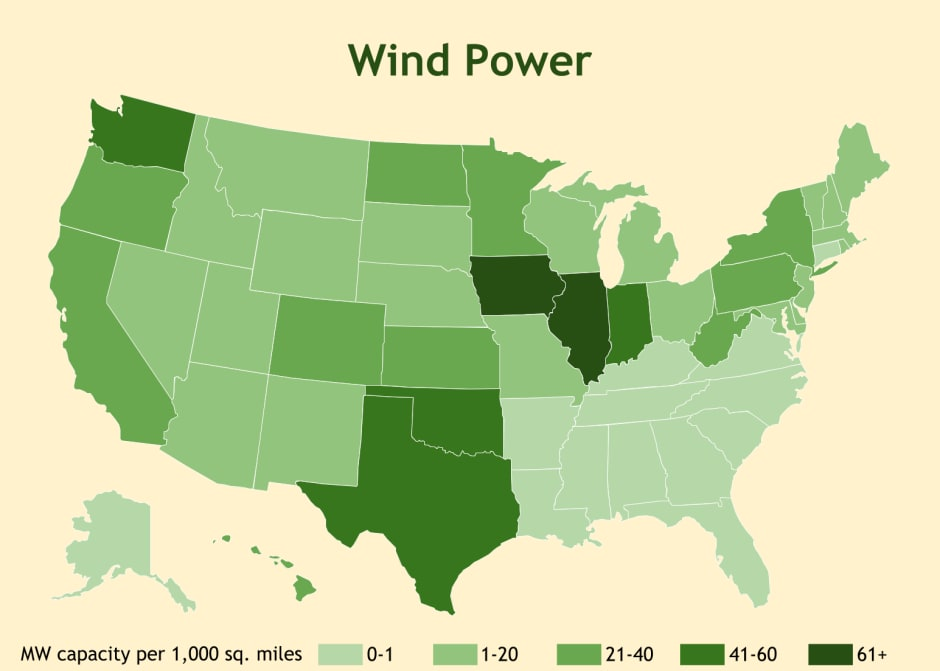 Map of wind power generated by state