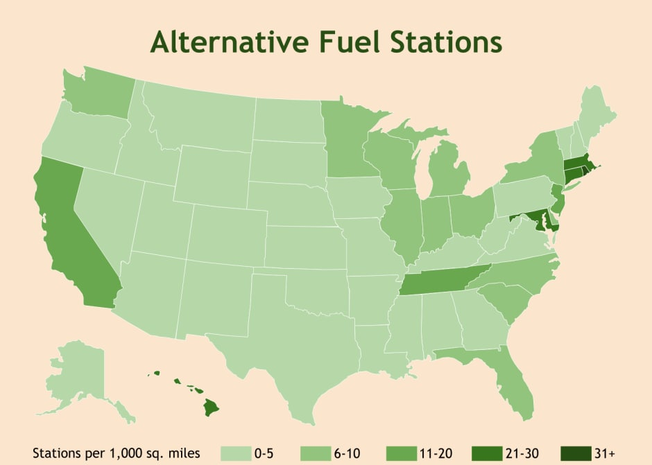 Map of alternative fuel stations by state