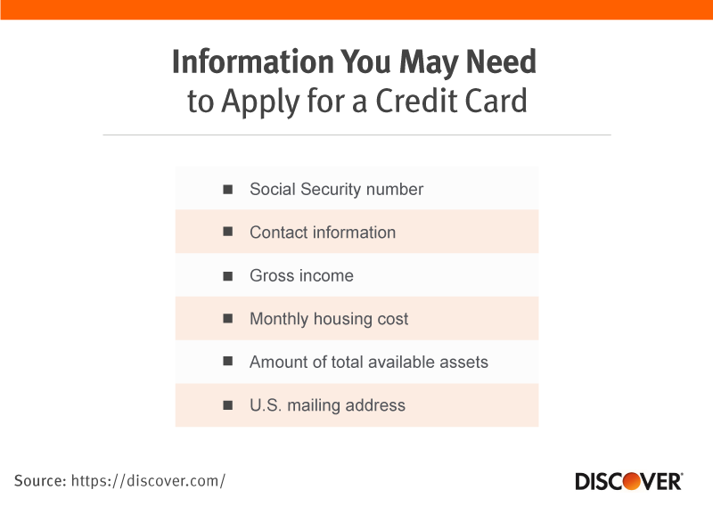 Information you may need to apply for a credit card