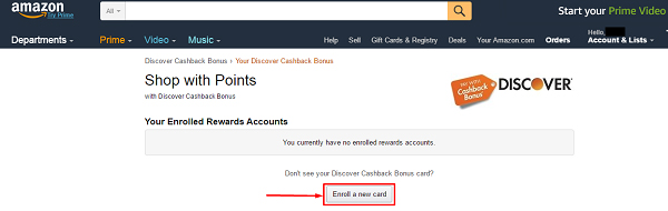 enroll your discover cash back card on amazon