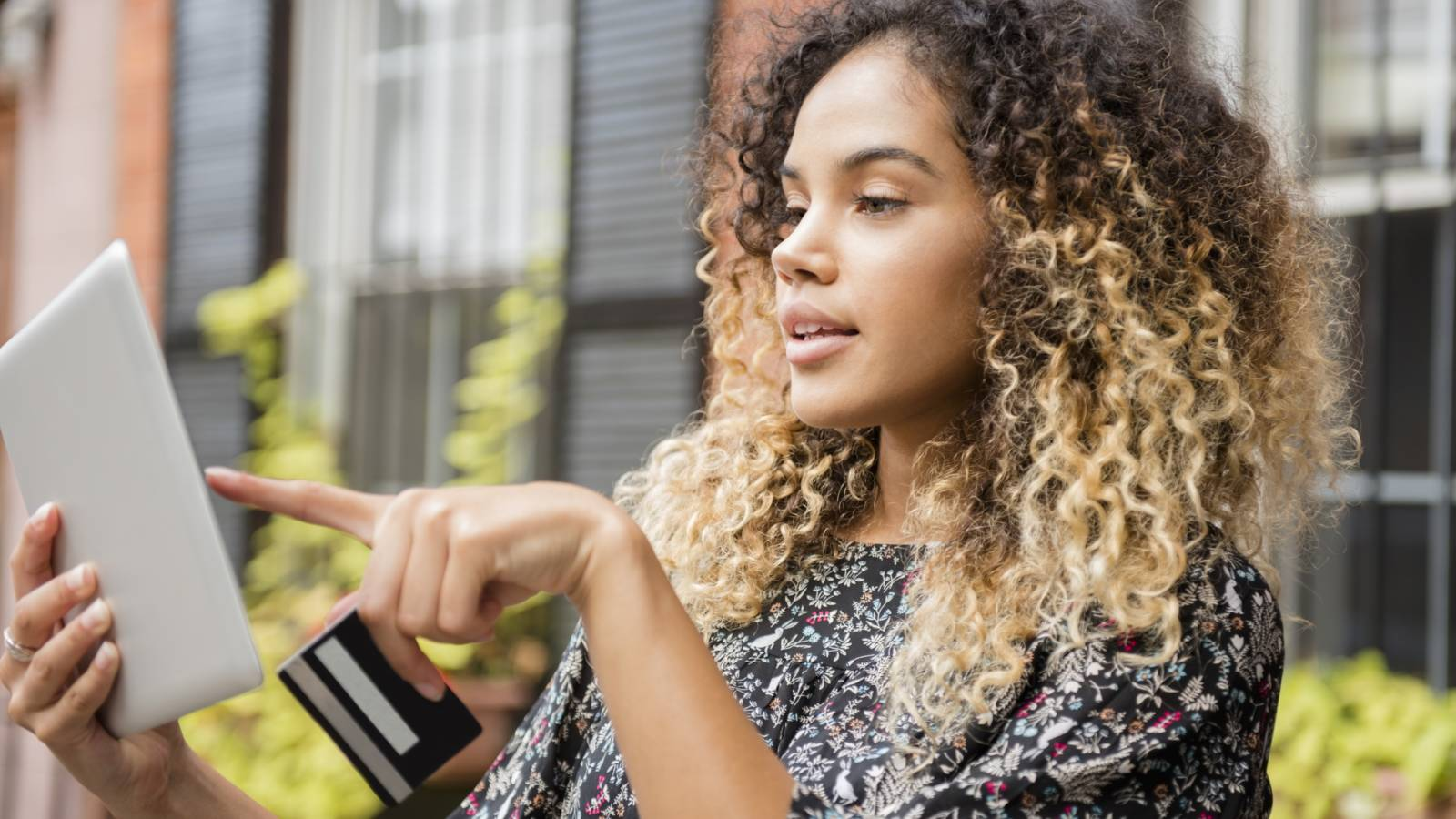 woman looking at credit online