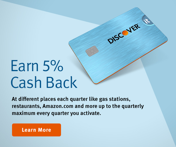 Earn 5% Cash Back. At different places each quarter like gas stations, restaurants, Amazon.com and more up to the quarterly maximum every quarter you activate.