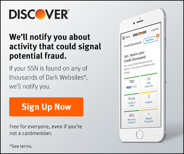 We'll notify you about activity that could signal potential fraud. Like if your SNN is found on Dark Websites*. Sign Up Now. *Free for everyone, even if you're not a cardmember.