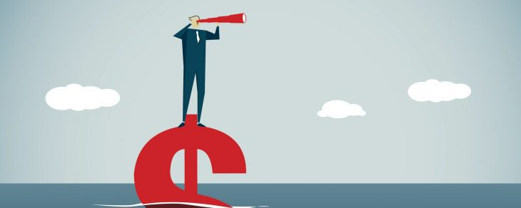 Illustration of man at sea, floating on a dollar sign