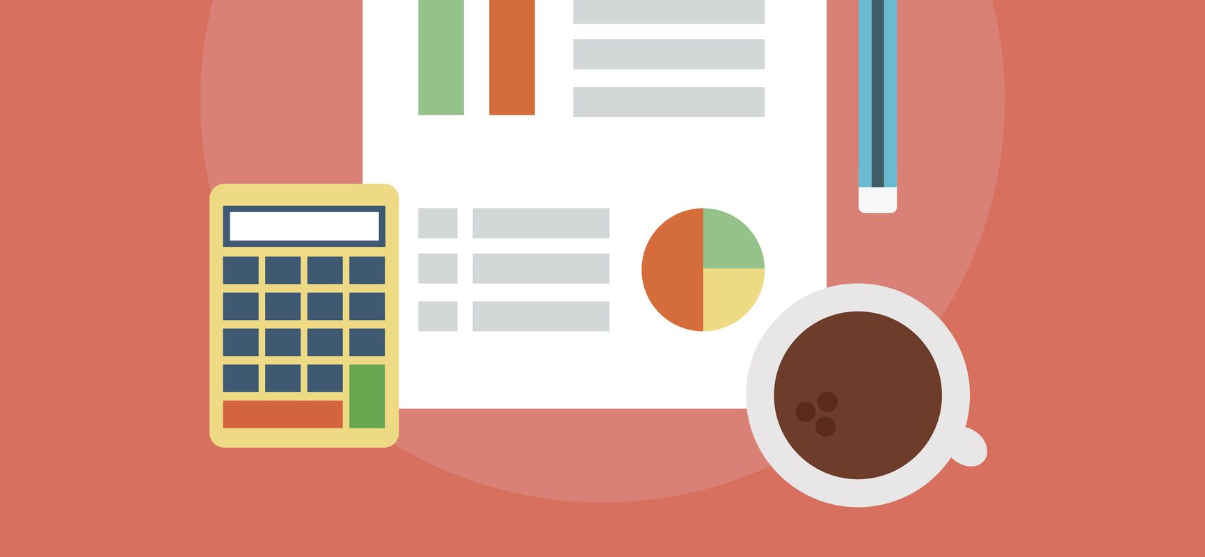 Illustration of calculator, financial statement, and coffee cup