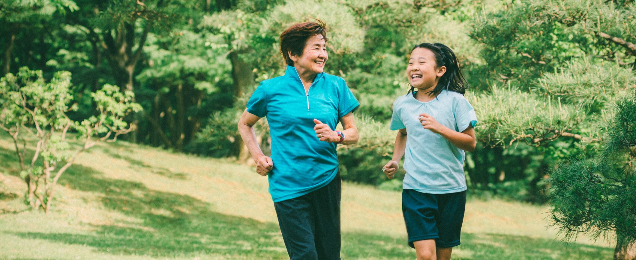 Grandmother and granddaughter go for a run